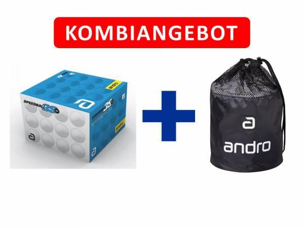 Andro Kombiangebot Speedball 3S*** + Balltasche 72er weiß